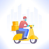 Quarantine delivery concept. Courier guy wearing mask and gloves riding scooter or moped, delivering package or parcel box. Fast delivery service, vector illustration