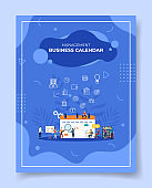 management business calendar people standing sitting front calendar calculator chart board for template of banners, flyer, books cover