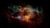 Space background with nebula and shining stars. Colorful magic color cosmos with galaxy stardust and milky way. Infinite universe and starry night. Elements of this image furnished by NASA.