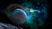 Scene with planets, stars and galaxies in outer space showing the beauty of space exploration. Elements of this image furnished by NASA.