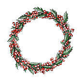 Illustration of a Christmas wreath made of berries and leaves