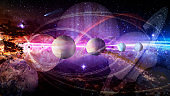 Dream of space concept. Collage of planets and galaxy in a starry sky. Elements of this image furnished by NASA.