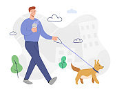 Man walking a dog, listening to music in headphones, drinking coffee in good mood, outdoors activity, male cartoon character, smiling guy with pet, flat vector illustration, modern city scene