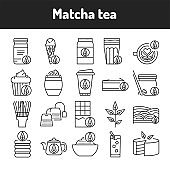 Matcha tea color line icons set. Pictograms for web page, mobile app, promo.