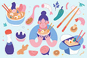Ramen collection, bowls and chopsticks with ingredients, Woman eating hot noodle soup with broth, asian and japanese food, Set of flat vector cartoon illustrations isolated, tasty noodles