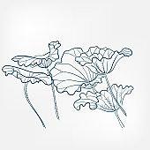 c leaves japanese paint style design sketch design element vector