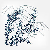 lespedeza japanese paint style design sketch design element vector