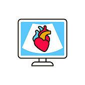 Echocardiogram machine color line icon. Medical and scientific concept. Pictogram for web, mobile app, promo. UI UX design element.