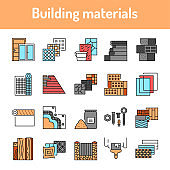 Building materials color line icons set. Pictograms for web page, mobile app, promo.