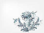 chrysanthemums japanese chinese design sketch ink paint style card background lespedeza
