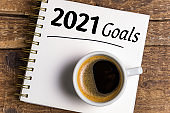 New year goals 2021 on desk. 2021 goals list with notebook, coffee cup on wooden background. Goals, plan, strategy, business, idea, action concept