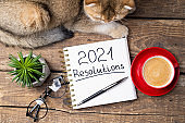 New year resolutions 2021 on desk. 2021 resolutions with notebook, cute cat, coffee cup, eyeglasses, succulent on wooden background. Goals, plan, strategy, list, idea, cozy home