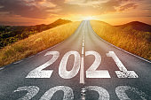 2021 write on road with way to success concept