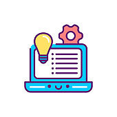 Development concept event line color icon. Event management. Sign for web page, mobile app, button, logo. Vector isolated element. Editable stroke