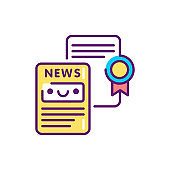 Writing press releases line color icon. Event management. Sign for web page, mobile app, button, logo. Vector isolated element. Editable stroke