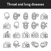 Throat and lung diseases color line icons set. Pictograms for web page, mobile app, promo.