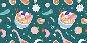 Ramen noodle soup flying background, japanese food, narutimaki, egg and bowl with chopsticks, colorful ornament for ramen shop, menu or wall print. seamless vector pattern