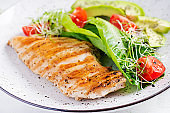 Chicken grilled fillet with salad fresh tomatoes and avocado. Healthy food, ketogenic diet, diet lunch concept. Keto/Paleo diet menu.