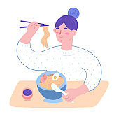 Woman eating ramen noodle soup, japanese food, cute girl eating and enjoying her meal in ramen shop cafe, holding chopsticks, sitting at table. Cute cartoon character