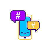 Hashtag line color icon. SMM promotion. Sign for web page, mobile app, button, logo. Vector isolated element. Editable stroke