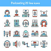 Podcasting color line icons set. Pictograms for web page,