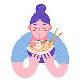 Woman enjoying her ramen, illustration of cute character holing a bowl with hot japanese noodle soup, traditional dish with browth and chopsticks. Flat hand drawn cartoon drawing