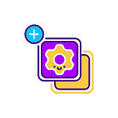 Widgets line color icon. SMM promotion. Sign for web page, mobile app, button, logo. Vector isolated element. Editable stroke