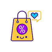 Offers line color icon. SMM promotion. Sign for web page, mobile app, button, logo. Vector isolated element. Editable stroke.