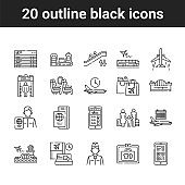 Airport service black line icons set. International flights. Pictograms for web page, mobile app, promo. UI UX GUI design elements. Editable stroke