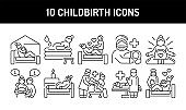 Childbirth black glyph icons set. Pictograms for web, mobile app, promo. UI UX design element.