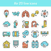 Air color line icons set. Pictograms for web page, mobile app, promo.
