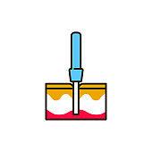 Biopsy color line icon. Medical and scientific concept. Laboratory diagnostics. Pictogram for web, mobile app, promo. UI UX design element