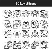 Soft skills black line icons set. Pictogram for web, mobile app, promo. UI UX design element