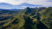 Sächsmoor and a beautiful mountain panorama on a sunny day - Drone Perspective Landscape Photography