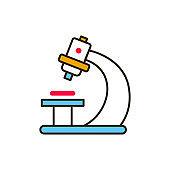 Microscope color line icon. Medical and scientific concept. Laboratory diagnostics. Pictogram for web, mobile app, promo. UI UX design element