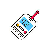 Blood glucose levels test color line icon. Diabetes check machine. Medical and scientific concept. Pictogram for web, mobile app, promo. UI UX design element.