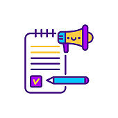 Content marketing line color icon. SMM promotion. Sign for web page, mobile app, button, logo. Vector isolated element. Editable stroke