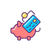 Budgeting line color icon. Event management. Sign for web page, mobile app, button, logo. Vector isolated element. Editable stroke