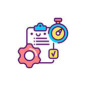 Workflow control line color icon. Event management. Sign for web page, mobile app, button, logo. Vector isolated element. Editable stroke