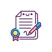 Conclusion contract line color icon. Event management. Sign for web page, mobile app, button, logo. Vector isolated element. Editable stroke
