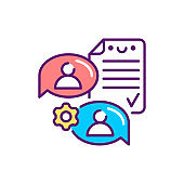 Supplier agreement line color icon. Event management. Sign for web page, mobile app, button, logo. Vector isolated element. Editable stroke