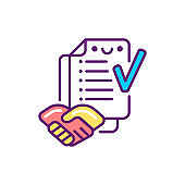 Agreement work with customer line color icon. Event management. Sign for web page, mobile app, button, logo. Vector isolated element. Editable stroke