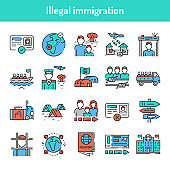Illegal immigration color line icons set. Pictograms for web page