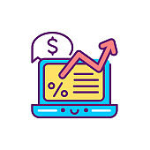 Financial report line color icon. Event management. Sign for web page, mobile app, button, logo. Vector isolated element. Editable stroke
