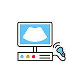 Ultrasonic diagnostic system color line icon. Medical and scientific concept. Laboratory diagnostics. Pictogram for web, mobile app, promo. UI UX design element.