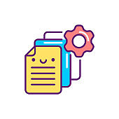 Document management line color icon. Event management. Sign for web page, mobile app, button, logo. Vector isolated element. Editable stroke