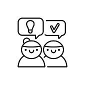 Logical reasoning black line icon. Soft skills. Pictogram for web, mobile app, promo. UI UX design element.