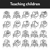Teaching children color line icons set. Pictograms for web page, mobile app, promo.