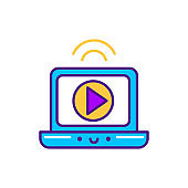 Video broadcast line color icon. SMM promotion. Sign for web page, mobile app, button, logo. Vector isolated element. Editable stroke