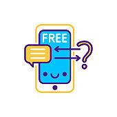 Free online consultation line color icon. SMM promotion. Sign for web page, mobile app, button, logo. Vector isolated element. Editable stroke